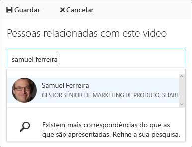 Pessoas de associar vídeo Office 365