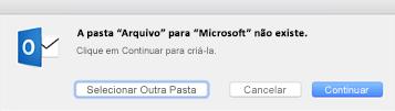 Esta mensagem é apresentada na primeira vez que utilizar o botão Arquivar no Outlook 2016 para Mac