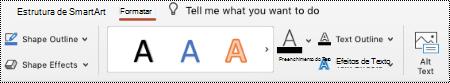 Botão texto alternativo no Ribbon para uma SmartArt no PowertPoint para Mac.
