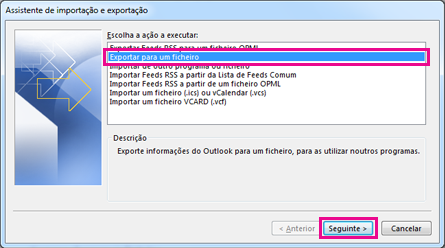 Assistente de Exportação do Outlook – exportar para um ficheiro