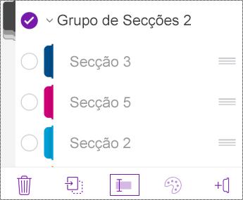 Mudar o nome de um grupo de secções no OneNote para iOS