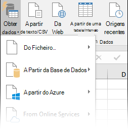 Dados > Obter e Transformar > Opções de Obter Dados
