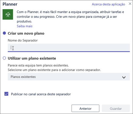 Captura de ecrã da caixa de diálogo do separador do Planner no Teams