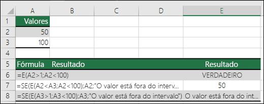 Exemplos de utilização das funções SE e E