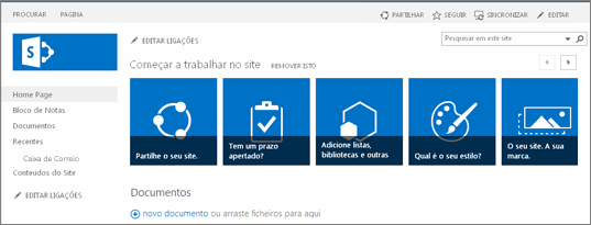 Captura de ecrã do site de equipa do SharePoint 2013