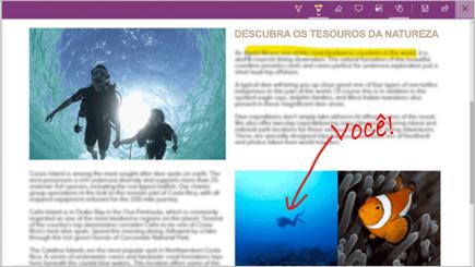 Captura de ecrã a mostrar uma nota Web numa página do Microsoft Edge