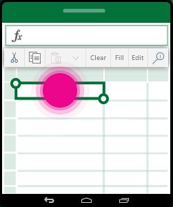 Abrir o menu de contexto de uma célula