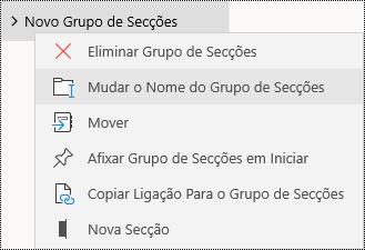 Mudar o nome de grupos de secções na aplicação OneNote para Windows 10