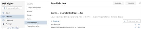 Captura de ecrã mostra a área dos remetentes seguros nas definições de Lixo em Correio em Definições do Outlook.com.
