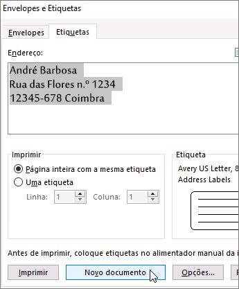 Atualizar conteúdos da caixa Endereço na caixa de diálogo Envelopes e Etiquetas e, em seguida, selecione Novo Documento.