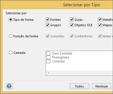 Em Selecionar por Tipo, especifique a seleção por tipo, função ou camada.