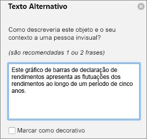 Caixa de diálogo do texto alternativo de escrita da 365 do Excel para gráficos dinâmicos