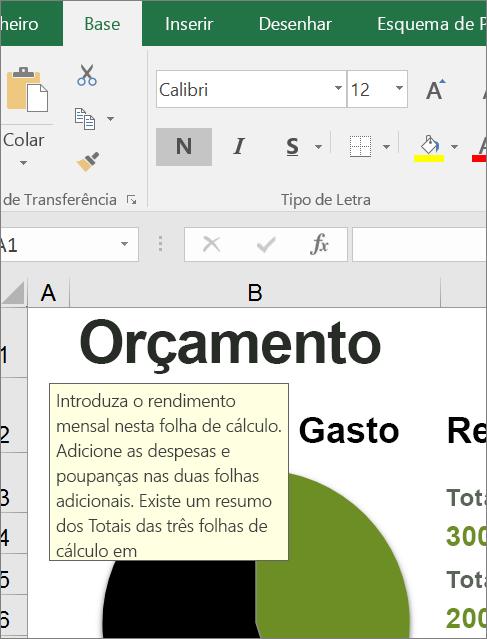 Recorte de ecrã da interface do utilizador do Excel a mostrar uma instrução incorporada