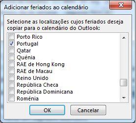 Caixa de diálogo de seleção de feriados de país/região