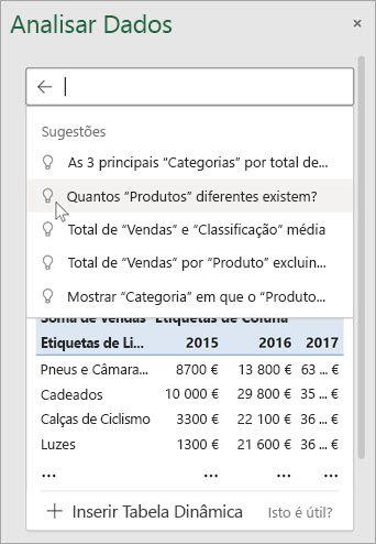 As Ideias no Excel irão fornecer-lhe perguntas sugeridas com base numa análise dos seus dados.