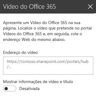 Captura de ecrã da caixa de diálogo Endereço do vídeo do Office 365 no SharePoint.