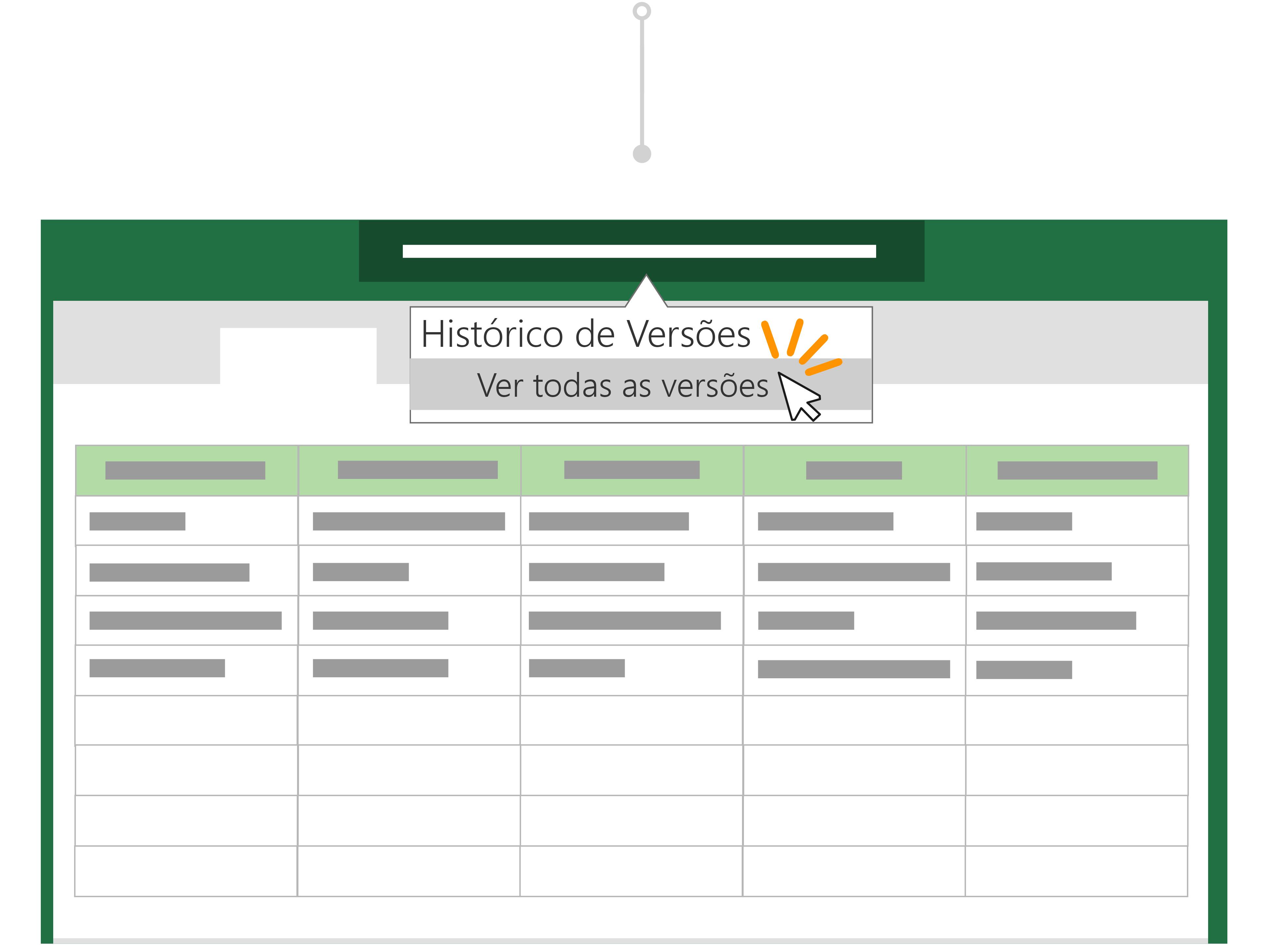 Utilize o histórico de versões para voltar a uma versão anterior de um ficheiro.