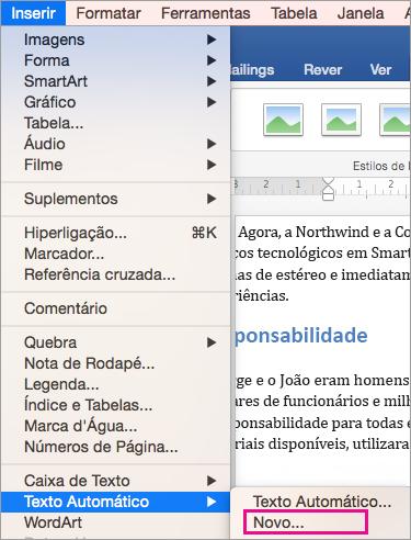 Menu Inserir com Texto Automático > Novo está realçado.