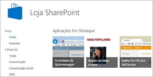 Vista da seleção de aplicativos SharePoint Store