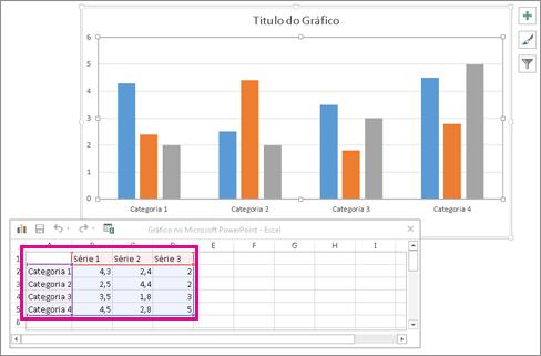 Folha de cálculo a apresentar dados predefinidos de gráfico
