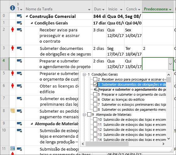 Captura de ecrã a mostrar o menu pendente da coluna antecessora no Project