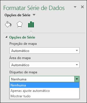 Opções de etiqueta de gráfico de mapa do Excel