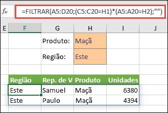 Utilizamos FILTRAR com o operador de multiplicação (*) para devolver todos os valores no intervalo da nossa matriz (A5:D20) que têm Maçãs E estão na região Este.