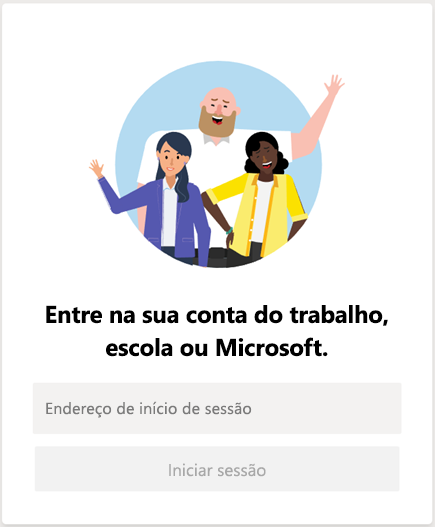 Iniciar sessão no Microsoft Teams