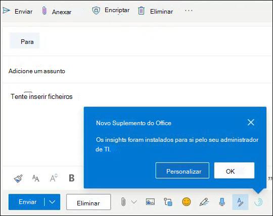 Nudge de informação para add-in exibido ao compor mensagem