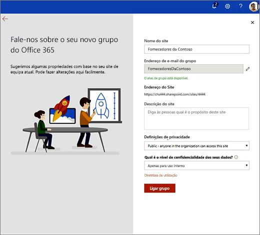 Esta é a página de propriedades do novo grupo do Office 365.
