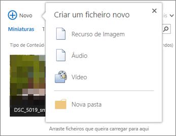 Criar uma caixa de diálogo de documento com o botão +Novo
