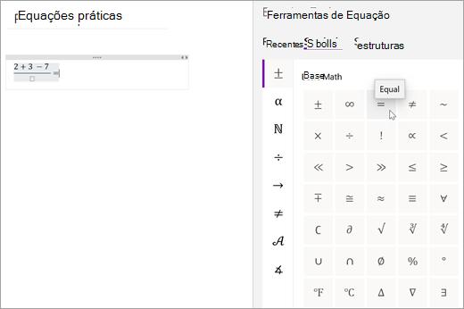 Selecione Símbolos e, em seguida, selecione uma categoria para navegar nos símbolos de matemática disponíveis.