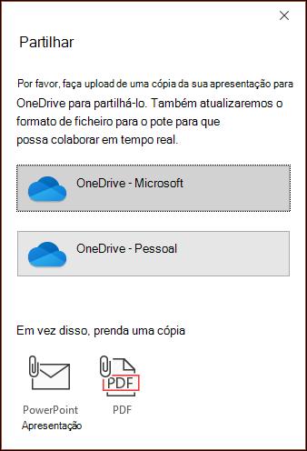 O diálogo de partilha no PowerPoint oferecendo-se para enviar o seu ficheiro para a Microsoft Cloud para que possa partilhá-lo perfeitamente.