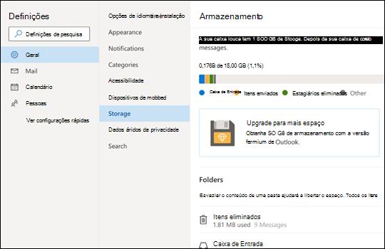 Menu de armazenamento para Outlook.com.