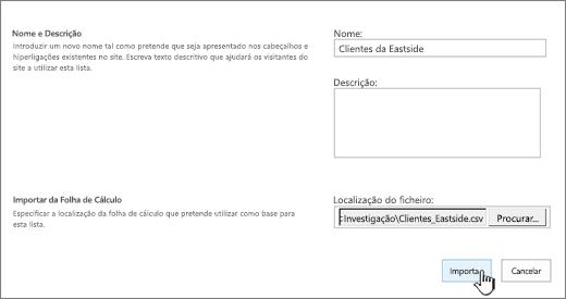 Caixa de diálogo Nova aplicação com o nome e localização do ficheiro preenchidos e a opção Importar realçada