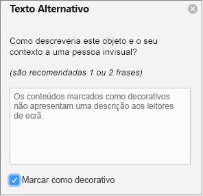 Caixa de verificação decorativa selecionada no painel Alt Text