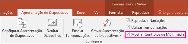 Apresenta a opção Mostrar Controlos de Multimédia no PowerPoint