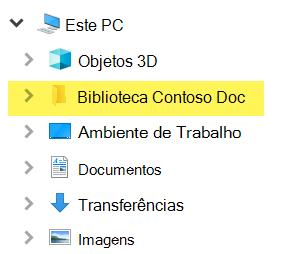No File Explorer, a biblioteca mapeada aparece como entrada de pasta sob este PC.