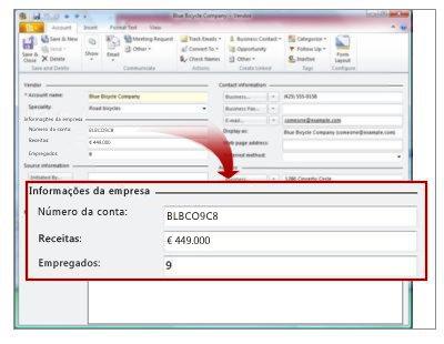 Registo de Fornecedor a mostrar as Informações da Empresa