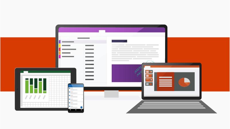 Aplicações do Office em vários dispositivos