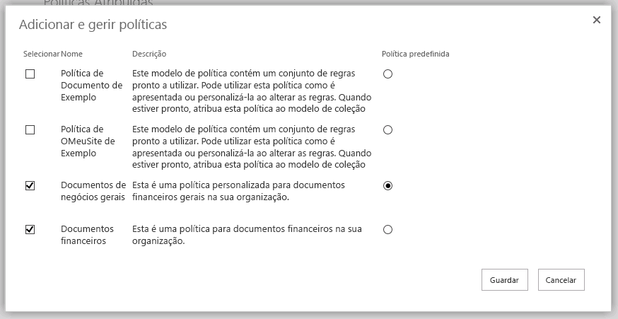 Adicionar e gerir políticas de página