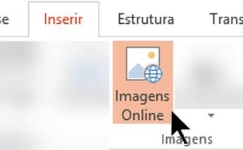 No friso da barra de ferramentas, selecione Inserir e, em seguida, selecione Imagens Online