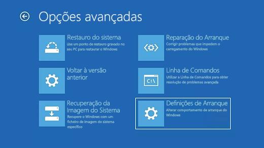 Ecrã Opções avançadas no Ambiente de Recuperação do Windows.