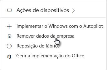 No cartão Dispositivos, selecione Remover dados da empresa
