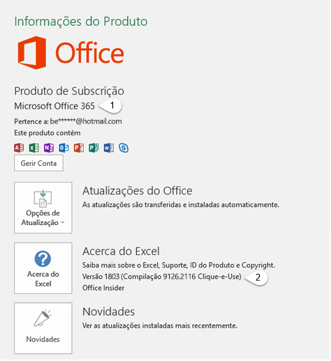 Página da conta que inclui informações sobre o utilizador e o produto