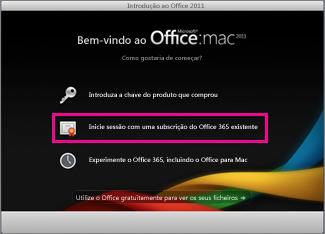 Página inicial de instalação do Office para Mac onde inicia sessão numa subscrição existente do Office 365.