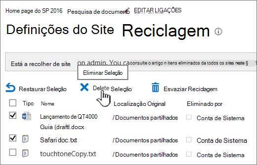 Botão de eliminar página Reciclagem do SharePoint 2016 realçado
