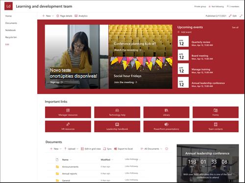 Captura de ecrã da pré-visualização do modelo de site de equipa de liderança e desenvolvimento