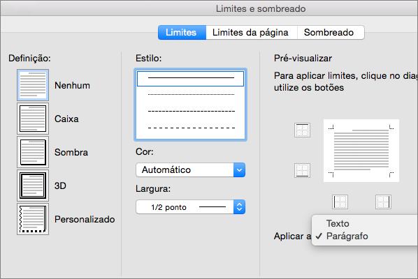 É apresentado o separador Limite na caixa de Limites e Sombreado.