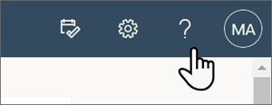 Imagem do ponto de interrogação na parte superior da página que abre o painel de ajuda